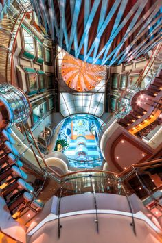 Remember to always look up when onboard a Royal Caribbean ship. This marvelous view was taken on the Royal Promenade of Voyager of the Seas.