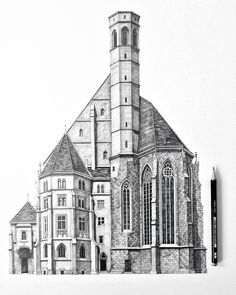 So here's a gorgeous #pencil #drawing by Minty Sainsbury (@minty_sainsbury) of #Minoritenkirche #Church in #Vienna #Austria. Yes this is a #pencildrawing. Yes Minty was able to replicate the awesome #asymmetrical #Gothic style #architecture of this church with a #handdrawn #illustration. Yes even the cool looking hexagonal #tower and beautiful #windows. Yes she even drew in a #pattern of #bricks and #shingles and subtle #shading and #shadows to made this two-dimensional drawing appear #reali