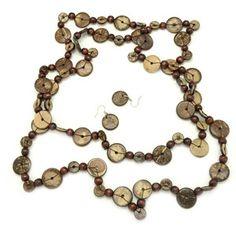Paparazzi Brown Round Wooden Necklace & Earrings Set. $5 www.fashion5jewelry.com Paparazzi $5 Jewelry & Accessories. #$5 jewelry #Paparazzi Jewelry
