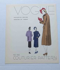 """1930s Vogue Couturier Dress Pattern Style 543 Display Advertising """"Page""""  Coat"""