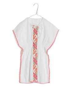 Look at this #zulilyfind! White & Orange Geometric Tie Cape-Sleeve Tunic - Toddler & Girls by Mim Pi #zulilyfinds