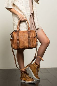 METALLIC STUDDED DUFFEL BAG