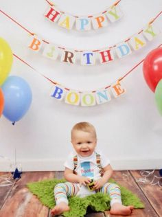 Birthday Banner HAPPY BIRTHDAY Birthday party by ClassicBanners, $30.00 multicolor birthday banner - first year photos - 1 year photo prop