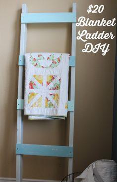 Easy Blanket Ladder DIY... no fancy tools needed!