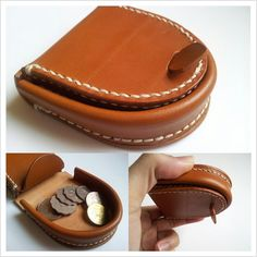 Handmade Hoof Style Leather coin purse / case / bag / box - Hand stitched