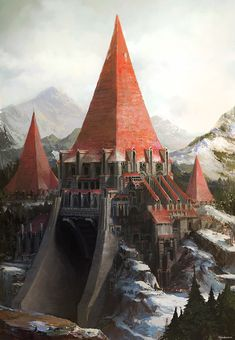 ✨ Winter Castle by Dongick Lee : ImaginaryLandscapes Fantasy City, Fantasy Castle, Fantasy Places, Fantasy Setting, Fantasy Landscape, Medieval Fantasy, Sci Fi Fantasy, Fantasy World, Fantasy Art Landscapes