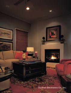 Shading Solutions from Lutron Provide Energy Saving Light Control Lighting Controls, Home Library, Lutron, Entertaining Guests, Living Room Lighting, Saving Light, Ambient Lighting, Interior Design, Living Room Decor