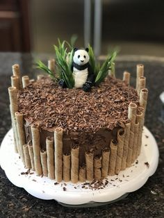 Panda birthday cake by Erin Farley – Torten und Cupcakes – Kuchen Rezepte und Desserts Panda Birthday Cake, Birthday Kids, Easy Birthday Cakes, Amazing Birthday Cakes, Bithday Cake, Cupcake Birthday Cake, Diy Jungle Birthday Cake, Birthday Cake Designs, Strawberry Birthday Cake