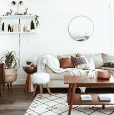 I love the neutral tones with the wooden coffee table and beige couch against th. - - I love the neutral tones with the wooden coffee table and beige couch against the wooden floors and white walls of this living room. Boho Living Room, Interior Design Living Room, Home And Living, Living Room Designs, Living Room Decor, Living Room With Beige Couch, Modern Living, Cozy Living, Small Living