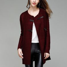 Autumn Hot Sale Elegant Women Long Knitted Cardigan Sweaters Large Size Solid PU Button O neck. Click visit to buy #WomenCardigan
