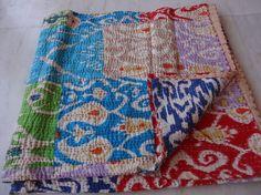 Cotton Handmade Tropican Floral Ikat kantha quilt quilts blanket throw gudari #Handmade