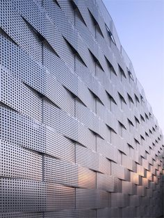Edogawa Garage Club Renovation, Tokyo, Perforated metal as a metal for back bar? Building Skin, Metal Facade, Perforated Metal, Historical Art, Facade Architecture, Textures Patterns, Building Design, Skyscraper, Pictures