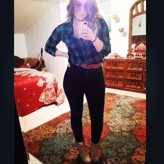 Flannel and super high rise denim #stylebyk #fall #plaid #kohls #juniors #urbanoutfitters