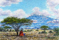 A Maasai tribesman keeps watch on the famous Mount Kenya. African Culture, African Art, Mount Kenya, Mount Kilimanjaro, Thing 1, 10 Frame, Fantastic Art, Beautiful Artwork, Painting Inspiration