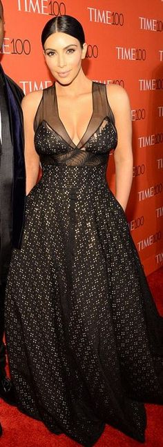 Who made Kim Kardashian's black gown?