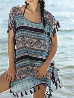 Ethnic Print Short Sleeve Cover Up Dress COLORMIX: Cover Ups | ZAFUL