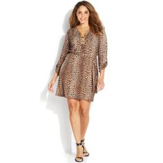 MICHAEL Michael Kors Leopard Print Belted Chain Lace-up Plus Size Dress