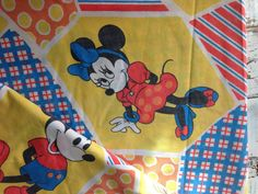 Vintage Mickey Mouse Bed Sheet-Full Flat-Cutter by whimsiedots (Home & Living, Bedding, bed sheet, fabric, mickey mouse, disney, bed linens, whimsiedots, childhood, cutter sheet, reclaimed bed linens, flat bed sheet, flat full, patchwork)
