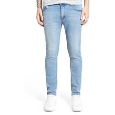 Men's Cheap Monday 'Tight' Skinny Fit Jeans ($75) ❤ liked on Polyvore featuring men's fashion, men's clothing, men's jeans, stonewash blue, mens blue jeans, mens jeans, cheap monday men's jeans, mens stretch denim jeans and mens skinny fit jeans