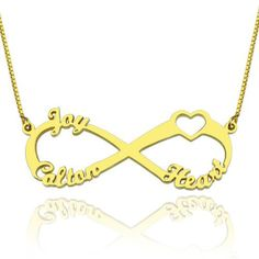 Heart #InfinityNecklace 3 Names 18K Gold Plated - This necklace is custom designed for you. This infinity necklace look it's simple, but it has a lot of meaning about friendship, love. Symbol of a promise eternal, forever, with no boundaries and infinite.So whether you are looking for a personal and stylish piece of jewelry or a special gift, this necklace is the ideal item to buy.