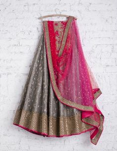 SwatiManish Lehengas SMF LEH 219 17 Soft grey lehenga with shocking pink and red shaded dupatta and floral threadwork sequin blouse New Lehenga, Indian Lehenga, Indian Gowns, Indian Attire, Indian Wear, Indian Outfits, Pink Lehenga, Lehenga Choli, Indian Clothes