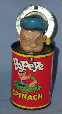Mattel POPEYE Spinach Can Jack-In-The -Box. Repinned by one of WorthPoint's favorite pinners!