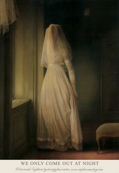 """Stephen Mackey """"We Only Come Out at Night"""" oil on panel // painting art ghost bride creepy dark Stephen Mackey, Tableaux Vivants, Mode Poster, Illustration Art, Illustrations, Arte Obscura, Pop Surrealism, Classical Art, Gothic Art"""