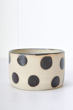 Eclipse Vessel with black polka dots. Handmade ceramic bowl from Australia - perfect for ice cream, cereal, soup and planting succulents in!