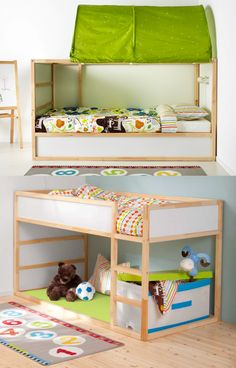 KURA bed - One way it's a twin sized bed with space to add a fun canopy. Flip it the other way for a mini loft bed with storage and play space underneath.