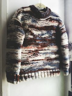 F/W 2014 À MOI COLLECTION — / amanda henderson knits / hand-knit collection piece, inward-thought intarsia pull-over sweater in mixed...