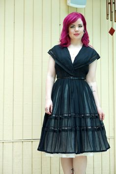Vintage 50s black day dress// cotton by hakther on Etsy, $65.00