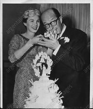 1956 Phil Silvers ACTOR and Evelyn Patrick eat wedding cake