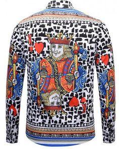 Domple Mens Design Luxury Slim Long-Sleeve Stylish Button Down Poker Pattern Shirt