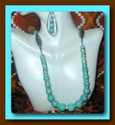 Turquoise Blue Magnesite Neckless Set by ShimmerandShineDesig, $45.00 perfect gift earrings included