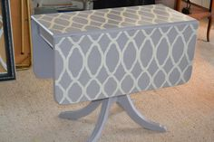 Duncan Phyffe drop leaf table painted with Annie Sloan Chalk Paint and Cutting Edge stencil.