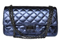 Chanel 2.55 calfskin leather Blue 45453 ANS