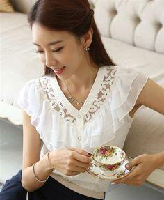 Elegant sleeveless OL blouse (white)