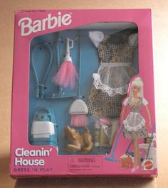 BARBIE CLEANIN' HOUSE BARBIE CLEANING HOUSE 1997 CANISTER VACUUM BROOM PLEDGE