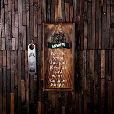 To view all designs please search item # 025337_beer in our shop (for a larger size item # 025334_beer). To view the wine cork holder collection, search item # 025334_wine in our shop. Product Specifications 1. 15 x 7 x 1.5 (opening = 3.15 x 0.5) 2. Stained Pine Wood 3. Holds 210 Beer