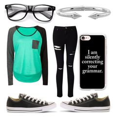 """""""Silently Correcting Your Grammer"""" by fangirling0ver-lae ❤ liked on Polyvore featuring Volcom, Converse, Casetify, Miss Selfridge and Vita Fede"""