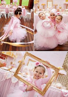 I found ballerina tutus we can get by the case from the Dollar Tree that the girls can all wear at the party! Pink & Gold Ballerina Party {4th Birthday}