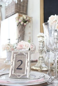 FRENCH COUNTRY COTTAGE burlap place cards #allthingsburlapparty