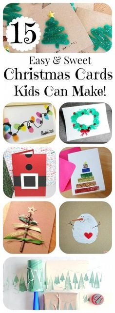 15 DIY Christmas Cards Kids Can Make is part of Christmas crafts Classroom - 15 DIY Christmas Cards Kids Can Make; a collection of 15 amazing yet simple Christmas Card Craft ideas for kids from toddler to teen! Christmas Card Crafts, Homemade Christmas Cards, Preschool Christmas, Holiday Crafts, Holiday Fun, Christmas Cards From Kids, Family Christmas, Christmas Glitter, Christmas Projects