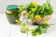 Celandine herbs in a basket, infusion in the bank and oil for herbal medicine. Herbal Tinctures, Herbalism, Herbal Remedies, Natural Remedies, 100 Proof Vodka, Cheap Vodka, Small Bottles, Herbal Medicine, The Cure