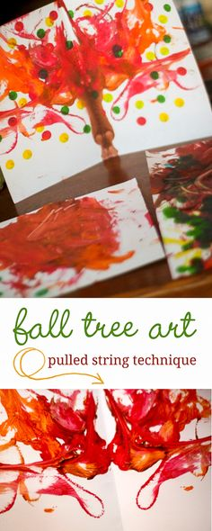 Make a fall tree painting with pulled string method