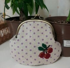 how to make the pouch of cherry embroidery