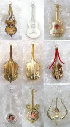 Lauscha Bassgeige Gitarre Mandoline Lyra Christbaumschmuck Weihnachten Baumkugel