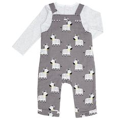Buy John Lewis Baby Zebra Dungaree Set, Charcoal Online at johnlewis.com