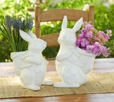 Just add flowers! Adorable bunny centerpieces for an Easter celebration.