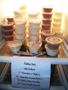 Pudding Shots ~ 1 small box of INSTANT Chocolate Pudding, 3/4 C Milk (skim works fine), 1/4 C Vodka, 1/2 C Bailey's Irish Cream, 8 oz Extra Creamy Cool Whip